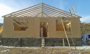 Сборно-щитовой дом со стропильной крышей из сэндвич панелей.